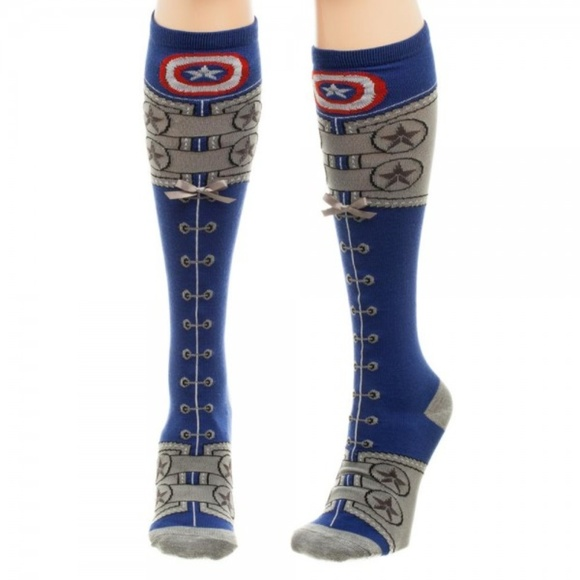 595327f159f Captain America Faux Lace Knee High Socks AVENGERS